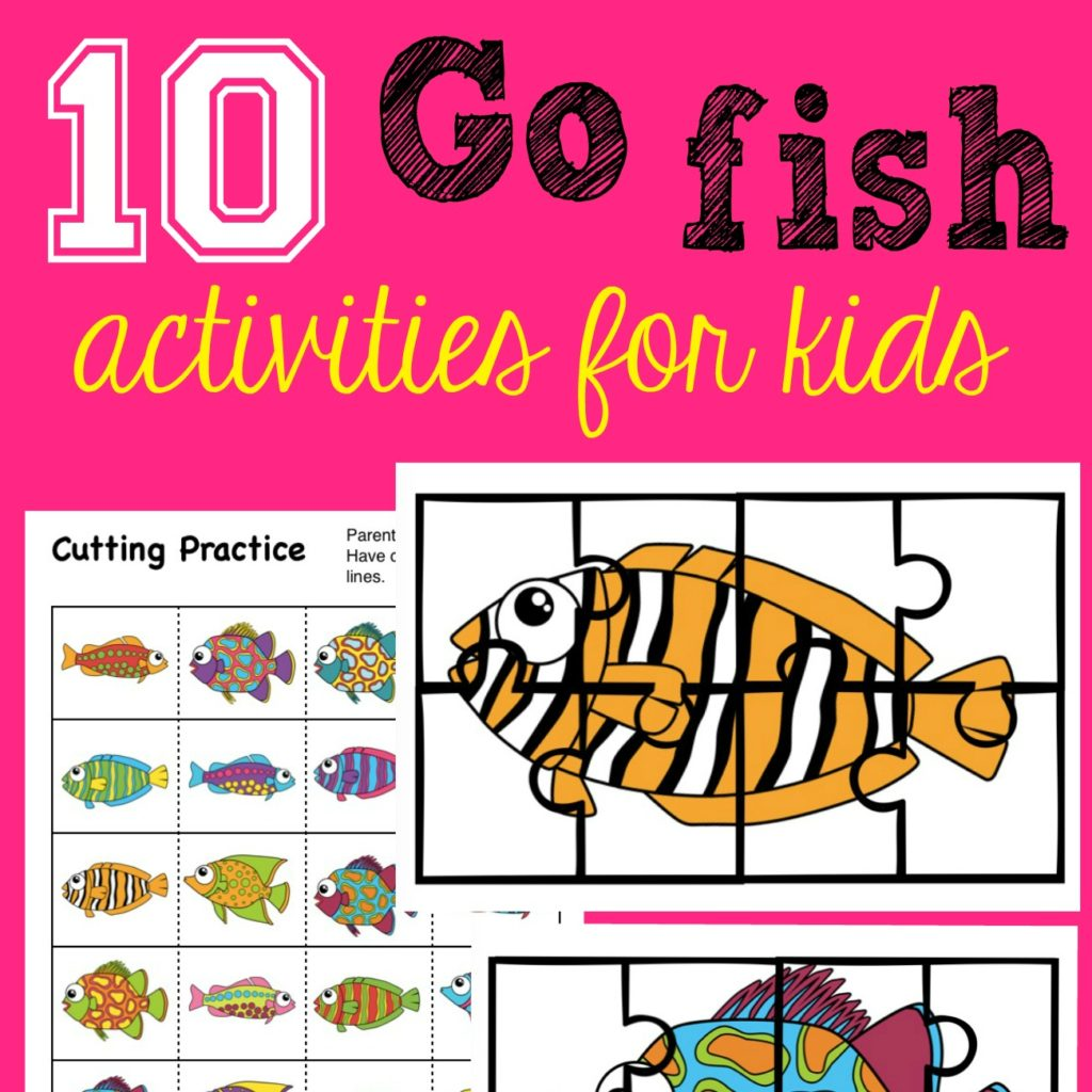 Square fun activity pack for kids with 10 Go Fish activities including fish you can actually use for fishing